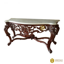 Indo Portuguese Wooden Console With Marble Top