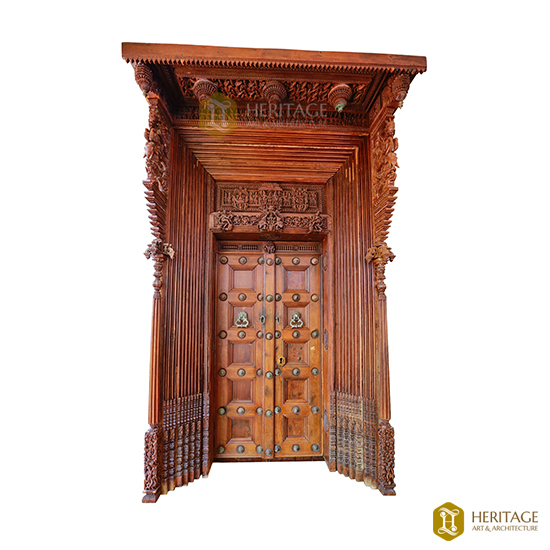 Intricately Carved Wooden Door