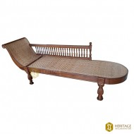 Kerala Style Cane Woven Wooden Divan with Side Rail