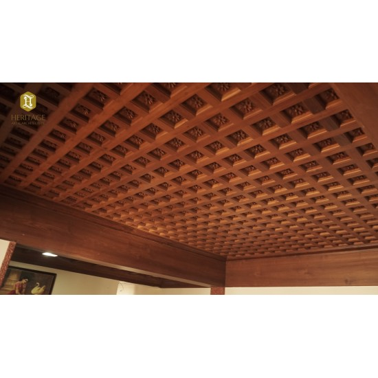Kerala Traditional Style Embossed Wooden Ceiling