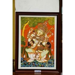 Goddess Saraswati mural painting