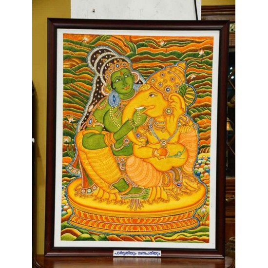 Parvathy and Ganapathy mural painting