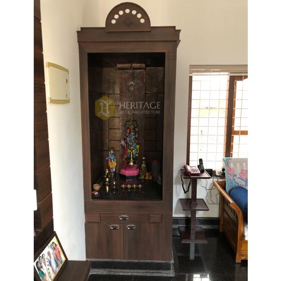 Rosewood Pooja Room with Storage