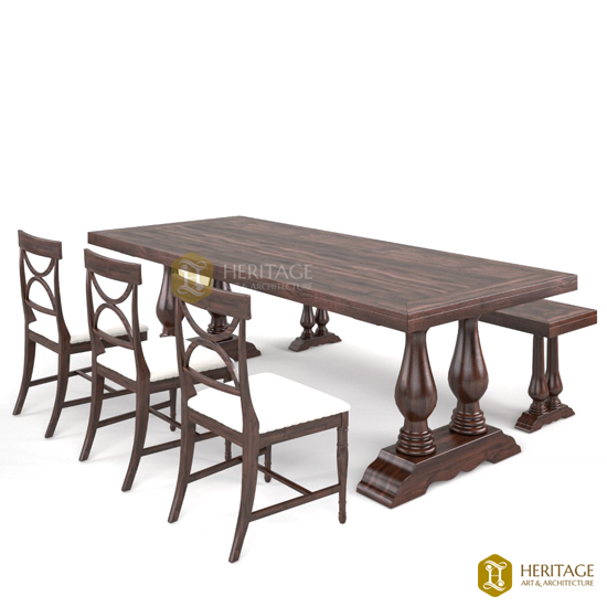 Traditional Dining Table With Bench