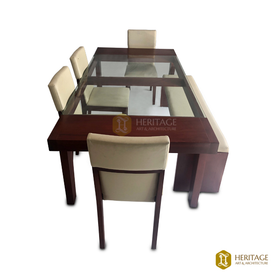 Traditional Dining Table with Glass Top