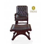 Wooden Rocking Chair with Leg Rest