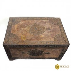 Teak Wood Box With Silver Inlay