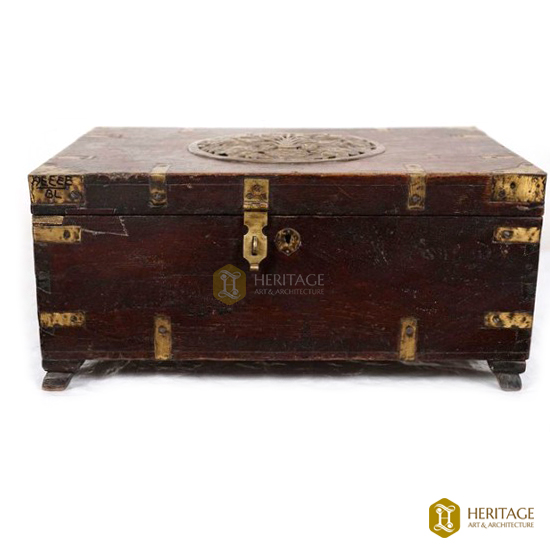 Teak and Brass Marriage Chest