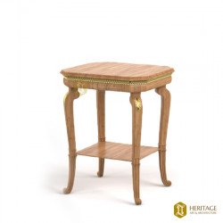 Brass Inline Teak Wood Stool