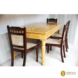 Teak Dining Table Set with Tile Inlay