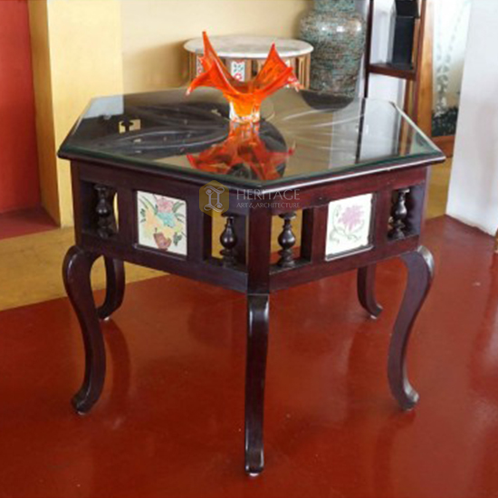 Antique Style Chettinad Hexagonal Table