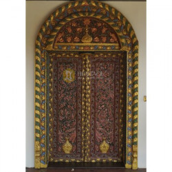 Antique Carved and Painted Teak Door