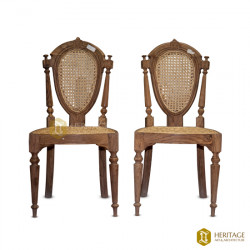 Cane Wooden Armless Chair