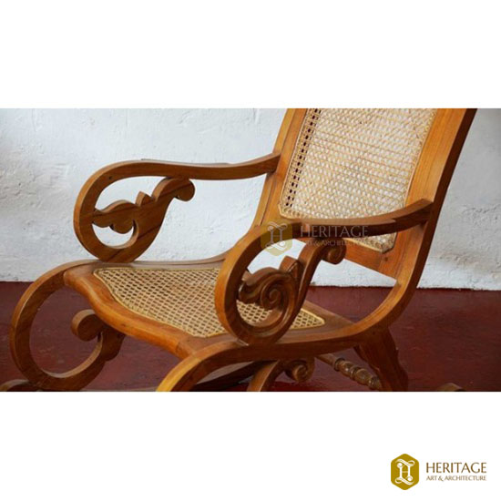 Teak and Cane Rocking Chair