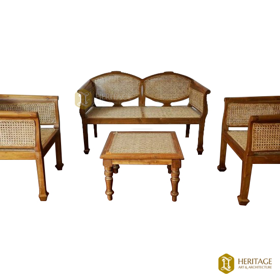 Teak Wood and Cane Sofa Set with Table
