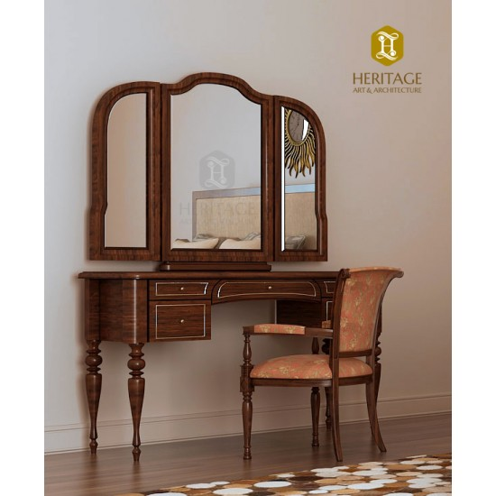 Elegant Wooden Dressing Table with Chair