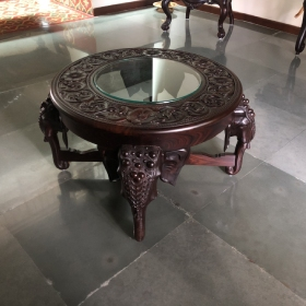 Glass topped Elephant Center Table-heritage-arts